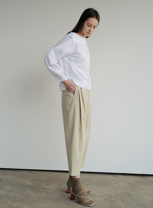 Cotton carrot pants(light khaki)