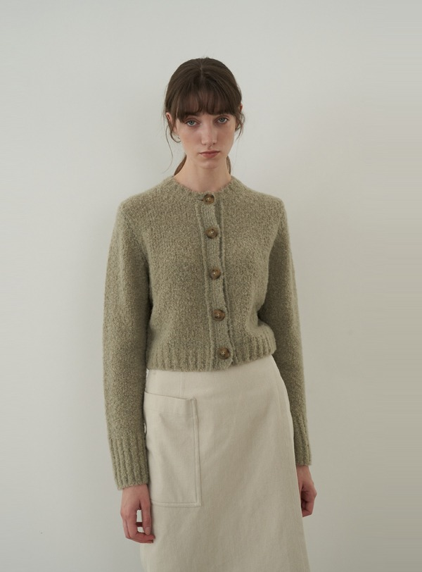 Boucle cardigan (light khaki)
