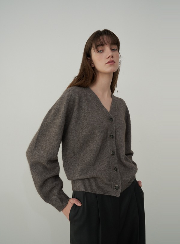 Raccoon V-neck cardigan (grey)