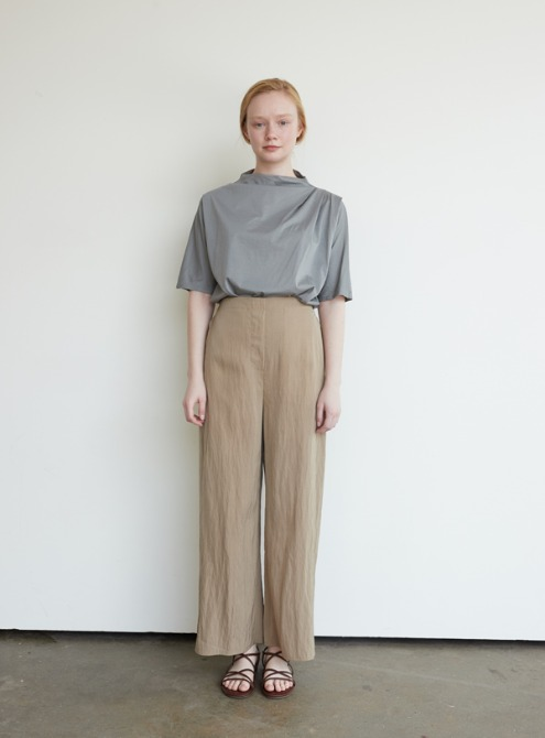 Banding straight pants (beige)