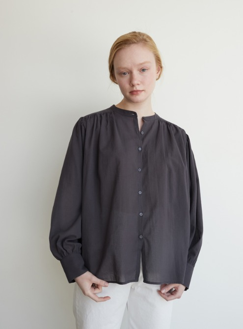 Cotton shirring blouse (dark grey)