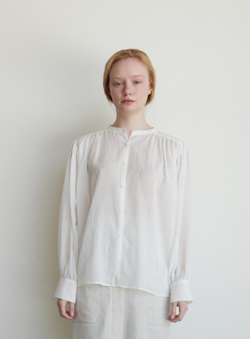Cotton shirring blouse (ivory)