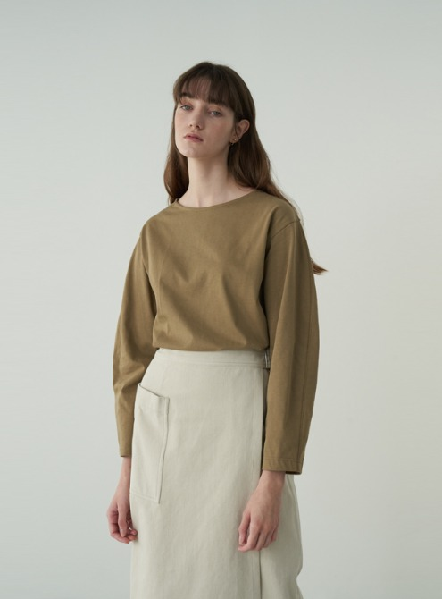 Volume sleeved jersey top (olive)