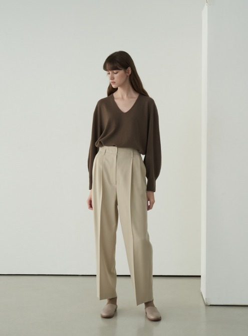 Volume sleeved knit top (brown)
