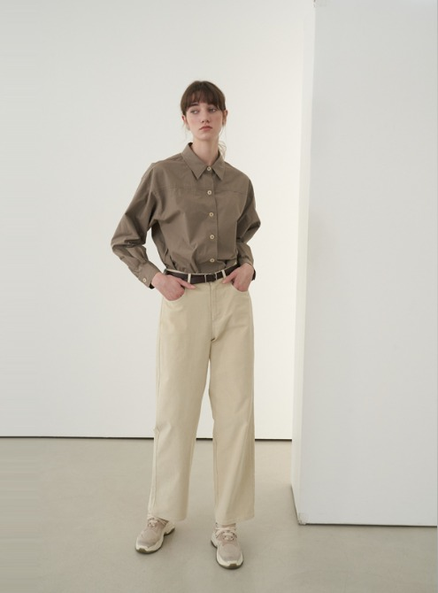 Belted shirt (brown)