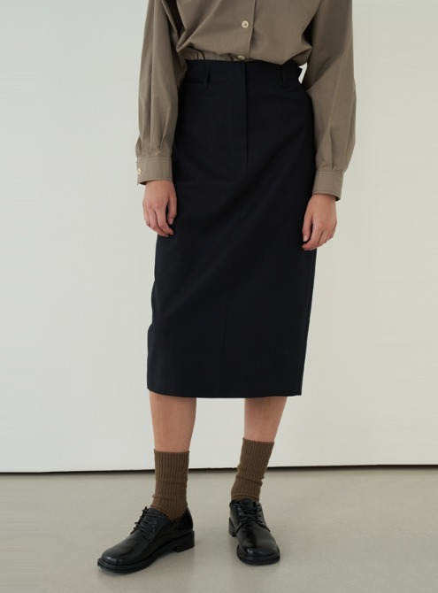 Bonding high waist skirt (dark navy)