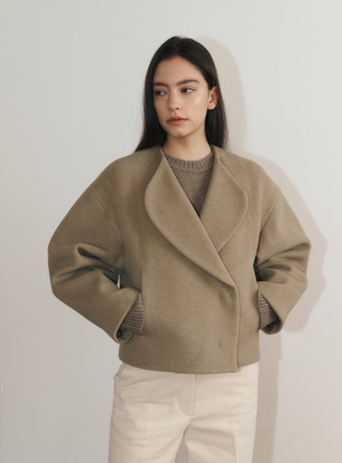 Round fit coat(light khaki)